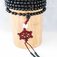 Black 216-Bead Prayer Bracelet w/ Tassel