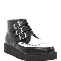 T.U.K Black & White Pointed Leather Creeper Boots