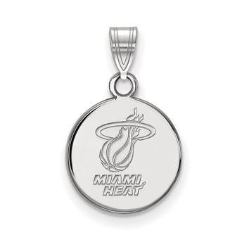 NBA Miami Heat Small Disc Pendant in 10k White Gold