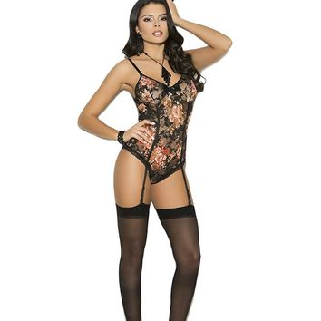 Elegant Moments Lace Teddiette with Satin Bow Gartered Teddy