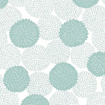Brewster Wallpaper 2764-24326 Blithe Turquoise Floral