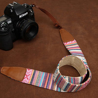 Gifts / Pink Bohemian Style SLR Camera Strap  Canon/Nikon Camera Strap  DSLR Camera Strap