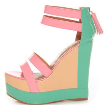 Matiko Echo Light Red Pastel Color Block Platform Wedges - $193.00