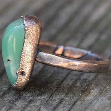 Raw Crystal Ring Chrysoprase Ring Mineral Jewelry Healing Stone Ring Raw Crystal Jewelry Green Gemstone Green Stone Ring Ring Size 7