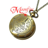 GRAVITY FALLS Bill Cipher Zodiac Pocket Watch Necklace