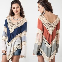 New 2016 Women Hollow Bikini Cover Up Blouse Tops Bohemian Style Crochet Lace Zig Zag Summer Beach Poncho Coverup Clothing Shirt
