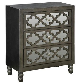 Avery 3 Mirrored Drawer Silver Leaf Chest W/ Gun Metal Finish By Crestview Collection Sku Cvfzr2242