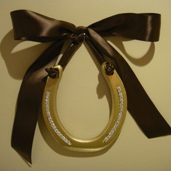 horseshoe-good luck hand painted gold with Rhinestone Bling adorned with Chocolate Satin Ribbon Bow-Custom Gift Tag-decorated horseshoe
