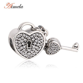 AIMELA 925 Sterling Silver Pave CZ Lock & Key Heart Beads with AAA Cubic Zirconia For Women Fit Pandora Bracelets DIY SH0591