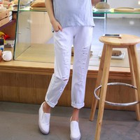 Maternity Fashion Jeans with Holes