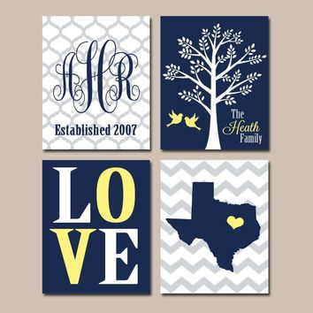 Family Tree Custom Wall Art CANVAS or Print Chevron Monogram Initial State LOVE Bird Tree Established Date Set of 4 Wedding Gift NAVY Yellow
