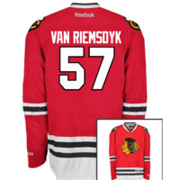 Chicago Blackhawks Mens Trevor Van Riemsdyk Premier Home Jersey with AUTHENTIC TACKLE-TWILL LETTERING