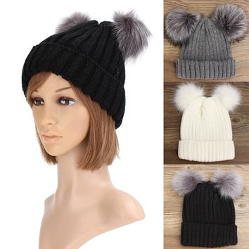 Women's Outdoor Knit Double Fur Pom Pom Beanie Cap Warm Cute Beanie Ski Bonnet Hats