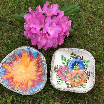 Ceramic Handmade Artisan Bowls Floral and Starburst Hand Painted Decorative Dishes Set of 2 Unique Bowls With Stone Design Backs Home Decor