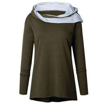 Green Hooded Irregular Tops