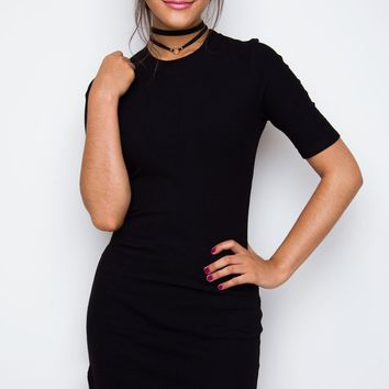 Lala Ribbed Dress - Black