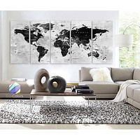 "XLARGE 30""x 70"" 5 Panels 30""x14"" Ea Art Canvas Print Watercolor Map World Countries Cities Push Pin Travel Wall Black White decor Home"