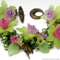 Fairy Garden Antique Brass Pearl & Crystal by whimsydaisydesigns