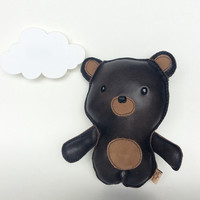 Sweet Bear Teddy Goodness, Brown Leather stuffed toy, doll for kids for adults by Leather Monsters for Etsy, Awesome gift idea for her, him