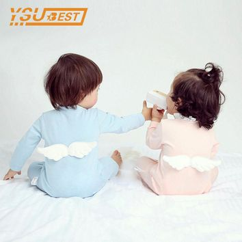 Newborn Baby Girls Rompers 100% Cotton Long Sleeve Angel Wings Leisure Body Suit Clothing Toddler Jumpsuit Infant Boys Clothes