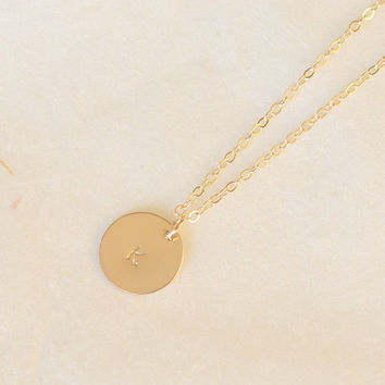 Disc Layered Necklaces,Engraved initial necklace 14k Gold Filled,Monogram Engraved Tag ,gift for her