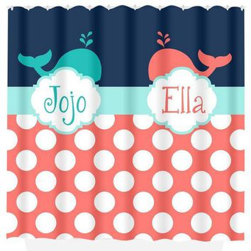 WHALE SHOWER CURTAIN, Ocean Theme Bath, Monogram Personalized, Child Kid, Navy Blue Coral, Brother Sister Shared, Bath Towel,  Bath Mat