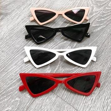 Womens Fashion Vintage Retro Cat Eye Triangle Sunglasses UV400 Eyewear Glasses