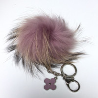 Fur Pom Pom keychain luxury bag charm pendant clover flower keychain keyring in light purple with natural tips