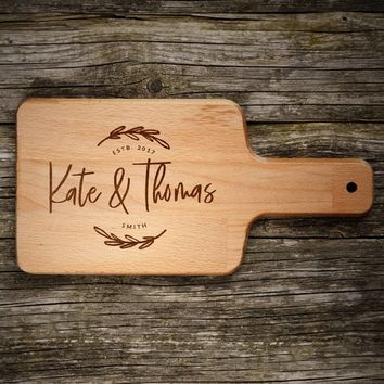 Personalized Cutting Board Name, Last Name & Date - Engraved Bamboo Cutting Board, Wedding Favor, Wishlist, Wedding, Christmas, Housewarming