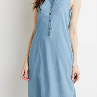Light Blue Sleeveless Side Split Denim Midi Dress