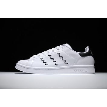 Adidas Originals Stan Smith Shoes Design Black Yarn-embroidered zigzag 3-Stripes