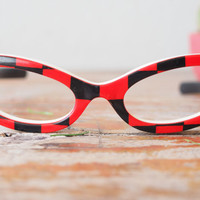Vintage Cat Eye Frame Eyeglasses 1960's Red and Black Checkered Rare Glasses