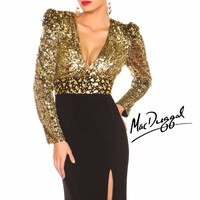 Embellished Keyhole Back Gown by Mac Duggal Black White Red