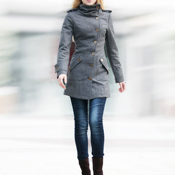 Shop Wool Military Coat on Wanelo