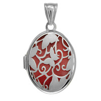 Sterling Silver Oval Locket Pendant With Flower & Butterfly Pattern And Red Interior