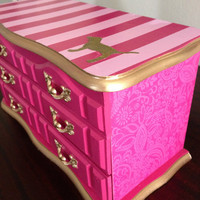 Vintage upcycled Jewelry Box Victoria's Secret Pink Inspired