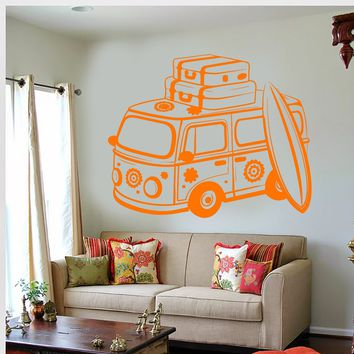 Vinyl Wall Decal Hippie Bus Love Peace Travel Car Happiness Unique Gift (695ig)