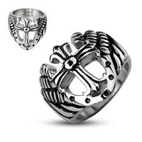 Cross of Protection - FINAL SALE Strong Looks Black and Stainless Steel Royal Cross Ring