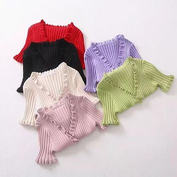 Women Simple Solid Color V-Neck Buttons Cardigan Knitwear Short Sleeve Bottoming Shirt Tops