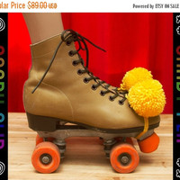 ON SALE Vintage 70s 80s 90s Tan Red Leather Yellow Pom Pom Orange Wheel Army Green Laces Roller Skates Derby Men's 8 Women's 9.5