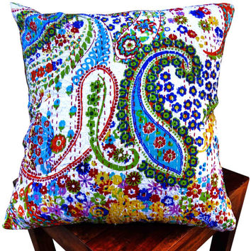 White paisley print kantha cushion cover , indian cushion, cotton cushion ,handmade cushion ,kantha pillow