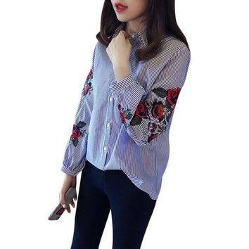 VOND4H Embroidered Blouses Blue Striped Long Sleeve Shirt