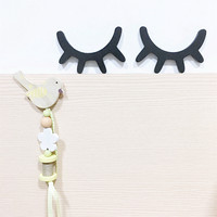 2016 Ins Wooden Eyelash On Wall Decorate For Children's Room Cute Eyelash For Baby Room 3 Colors 15*10*1cm Eco-friendly