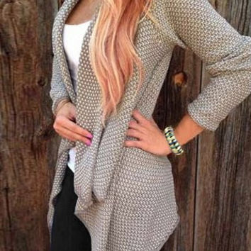 Collarless Knitted Long Sleeve Cardigan