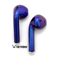 Custom Apple AirPods Wireless Earbuds - Custom Painted Chameleon Blue/Purple Earbuds - Colored AirPods