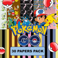 Pokemon Go Image, Pokémon Inspired Digital Paper Pack - 30 Papers - Size 12x12 - Printable Paper- Digital Scrapbooking - CLIPART INCLUDED
