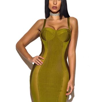 Viola Sweetheart Top Sheer Cut Out Bandage Dress