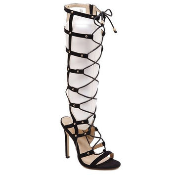 Cut Out Cross Lace Up Knee-High Design Boots