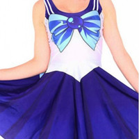 Cartoon Cosplay Bow Print Tank Skater Dress