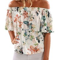 Happy Sailed Women Floral Print Off Sholder Half Sleeve Blouse Casual Summer Tee Shirt Tops